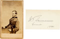 Autographs:Military Figures, General William Tecumseh Sherman: Signature on Verso of Calling Card with Civil War-Period Carte de Visite. ... (Total: 2 )