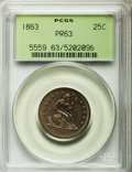 Proof Seated Quarters, 1863 25C PR63 PCGS....