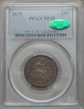 Seated Quarters: , 1879 25C XF45 PCGS. CAC. PCGS Population (6/215). NGC Census:(3/194). Mintage: 13,600. Numismedia Wsl. Price for problem f...