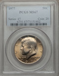 Kennedy Half Dollars: , 1977 50C MS67 PCGS. PCGS Population (33/0). NGC Census: (25/1).Mintage: 43,598,000. Numismedia Wsl. Price for problem free...