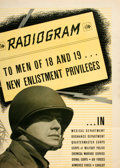 """Books:Prints & Leaves, WWII. Radiogram to Men of 18 and 19...Recruitment Poster.1942. Measures 20"""" x 28"""". Some neat folding creases. S..."""