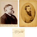 Photography:Cabinet Photos, Fitzhugh Lee: Two Cabinet Cards and Signature.... (Total: 3 )