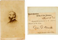 Autographs:Military Figures, George G. Meade Carte de Visite and Clipped Signature.... (Total: 2 )