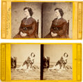 Photography:Stereo Cards, Union Spy Pauline Cushman: Two Stereoviews.... (Total: 2 )