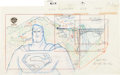Animation Art:Production Drawing, Superman: The Animated Series Superman Pan Layout Drawing(Warner Brothers, 1990s)....