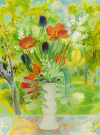 LE PHO (French/Vietnamese, 1907-2001) Floral Still Life Oil on canvas 32 x 23-3/4 inches (81.3 x