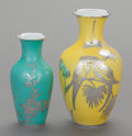 Ceramics & Porcelain, Continental:Modern  (1900 1949)  , TWO GERMAN PORCELAIN AND SILVER OVERLAY VASES, Rosenthal, Selb, Germany, Edelstein, Germany, 20th century. Marks to taller: ... (Total: 2 Items)