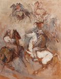 Fine Art - Painting, American:Modern  (1900 1949)  , WILLIAM MEYEROWITZ (1887-1981). Cowboy Sketches. Oil onboard. 17-1/2 x 13-1/2 inches (44.5 x 34.3 cm). Signed lower lef...