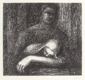 Prints, HENRY SPENCER MOORE (British, 1898-1986). Lullaby (Sleeping Head), 1973. Lithograph. 12-1/4 x 12-1/2 inches (31.1 x 31.8...