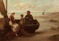 Paintings, LOUIS LAURENT (Belgian, b. 1840). A Fisherman and his Family. Oil on canvas. 25-1/2 x 36 inches (64.8 x 91.4 cm). Signed...