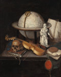 Paintings, Follower of JAN VERMEULEN (Dutch, a. 1638-1674). Vanitas, Still Life with Skull, Violin and Globe. Oil on canvas laid on...