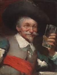AUGUST GROH (German, b. 1871) Drinking Cavalier, 1891 Oil on canvas 7-3/4 x 6-1/8 inches (19.7 x