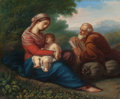 Paintings, ITALIAN SCHOOL (18th Century). Rest on the Flight into Egypt. Oil on canvas. 16-1/8 x 13-3/8 inches (41.0 x 34.0 cm). ...