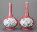 Asian:Chinese, A PAIR OF CHINESE GLAZED AND ENAMELED PORCELAIN VASES. Marks: (chopmarks). 16 inches high (40.6 cm). ... (Total: 2 Items)