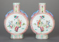 Asian:Chinese, A PAIR OF CHINESE PAINTED AND ENAMELED PORCELAIN VASES. Marks:(chop marks). 9 x 6-1/2 x 2-1/2 inches (22.9 x 16.5 x 6.4 cm)...(Total: 2 Items)
