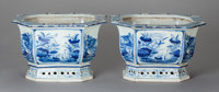 A PAIR OF CHINESE BLUE AND WHITE PORCELAIN JARDINIÈRES 9 x 14-1/2 x 11-1/2 inches (22.9 x 36.8 x 5.1 cm)
