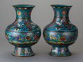 Asian:Chinese, A PAIR OF CHINESE CLOISONNÉ VASES IN FOUR PARTS. Marks: (chopmarks). 14 inches high x 10 inches wide (35.6 x 25.4 cm). ...(Total: 2 Items)