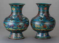 A PAIR OF CHINESE CLOISONNÉ VASES IN FOUR PARTS Marks: (chop marks) 14 inches high x 10 inches wide (35.6 x 25...