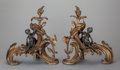 Decorative Arts, French:Other , A PAIR OF LOUIS XV-STYLE GILT AND PATINATED BRONZE FIGURAL CHENETS,circa 1900. 15 x 4 x 8 inches (38.1 x 10.2 x 20.3 cm). ... (Total:2 Items)