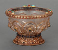 Asian:Other, A MUGHAL-STYLE HARDSTONE AND GILT BRONZE MOUNTED ROCK CRYSTAL BOWL,late 20th century. 4-1/2 inches high x 6-1/2 inches diam...