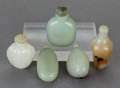Asian:Chinese, FIVE CHINESE HARDSTONE SNUFF BOTTLES. 3 inches high (7.6 cm). ...(Total: 5 Items)