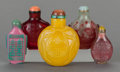 Asian:Chinese, FIVE CHINESE GLASS SNUFF BOTTLES. 3-1/2 inches high (8.9 cm)(tallest). ... (Total: 5 Items)