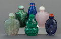 Paintings, SIX CHINESE SEMI PRECIOUS STONE CARVED SNUFF BOTTLES . 3 inches high (7.6 cm) (tallest). ... (Total: 6 Items)
