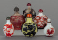 Asian:Chinese, SIX CHINESE GLASS SNUFF BOTTLES. 3-1/8 inches high (7.9 cm)(tallest). ... (Total: 6 Items)