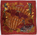 "Luxury Accessories:Accessories, Hermes Burgundy and Gold ""Vendanges,"" by Valerie Dawlat-DumoulinSilk Scarf. ..."