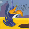 Mainstream Illustration, Untitled-036 . Diptych 1/2: Beep Beep! Roadrunner . Acrylicon canvas . 12 x 12 in.. ...