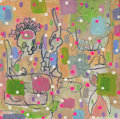 """Mainstream Illustration, Untitled-069 . Abstract """"Barber of Seville"""" with dots .Mixed media on canvas . 12 x 12 in.. ..."""