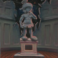 Mainstream Illustration, Untitled-102 . Marvin as David statue . Oil on canvas . 12 x12 in.. ...