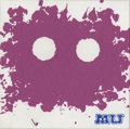 Mainstream Illustration, Untitled-015 . Monsters University purple face splat .Acrylic on canvas . 12 x 12 in.. ...