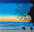Mainstream Illustration, Untitled-138 . Surfers walking on beach . Oil on canvas . 12x 12 in.. ...