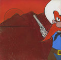 Mainstream Illustration, Untitled-152 . Yosemite Sam holding gun (Red sand BG) .Acrylic and Sand on canvas . 12 x 12 in.. ...