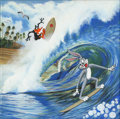 Mainstream Illustration, Untitled-162 . Bugs and Daffy surfing (Trees and birds intop/left BG). Oil on canvas . 12 x 12 in.. ...