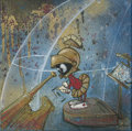"Mainstream Illustration, Untitled-145 . ""M. Martian"" (looking through telescope). Oilon canvas . 12 x 12 in.. ..."