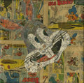 Mainstream Illustration, Untitled-014 . Bugs Bunny (Vintage Comic Pages) . Vintagecomic pages on canvas . 12 x 12 in.. ...