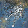"Mainstream Illustration, Untitled-144 . ""Bugs Aldrin"" (astronaut in space) . Oil oncanvas . 12 x 12 in.. ..."