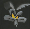 Mainstream Illustration, Untitled-025 . Wile E. Coyote face on black background . Oilon canvas . 12 x 12 in.. ...