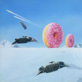 "Mainstream Illustration, Untitled-132 . ""Hoth and Fresh"" (Snowspeeders and Doughnuts). Oil on wood panel . 12 x 12 in.. ..."