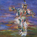 Mainstream Illustration, Untitled-097 . Native American dancer . Oil on canvas . 12 x12 in.. ...