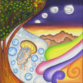 Mainstream Illustration, Untitled-047 . Jellyfish, tree, and moon. Oil on canvas . 12x 12 in.. ...