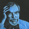 Mainstream Illustration, Untitled-124 . Chuck in Blue (Black BG) . Oil on canvas . 12x 12 in.. ...