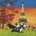 Mainstream Illustration, Untitled-103 . Pepe with Eiffel Tower . Oil on canvas . 12 x12 in.. ...