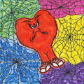 Mainstream Illustration, Untitled-074 . Gossamer with colorful spiderwebs . Acrylicon canvas . 12 x 12 in.. ...