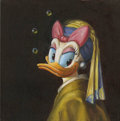 "Mainstream Illustration, Untitled-109 . ""Blue Sash"" (Duck with a Pearl Earring) . Oilon canvas . 12 x 12 in.. ..."
