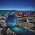 "Mainstream Illustration, Untitled-028 . Photo: ""Colored Balls in the Desert"". Photoprint on paper . 12 x 12 in.. ..."
