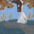 Mainstream Illustration, Untitled-130 . Timeclock on tree (Ralph and Sam) . Acrylicon canvas . 12 x 12 in.. ...