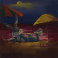 Mainstream Illustration, Untitled-101 . Bugs on beach with umbrellas . Oil on woodpanel . 12 x 12 in.. ...